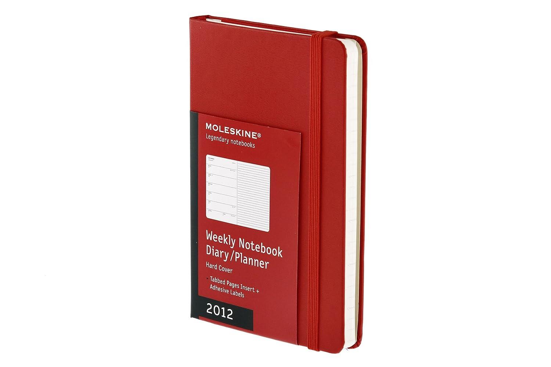 Agenda Weekly Notebook 12 mesi Copertina rigida rossa Pocket