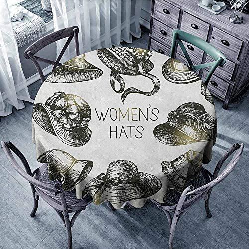 ScottDecor Reusable Round Tablecloth Picnic Cloth Victorian,Collection of Vintage Woman Hats and Retro Fashion Catalogue Female Old Image Art, Emerald Diameter 70