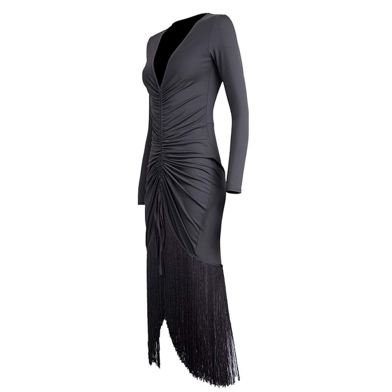Latin Dance Dress Ballroom Salsa Dresses for Women Dancing Big V Neck Tassel Long Skirt,Black,S by Colourful Day Dance Dress