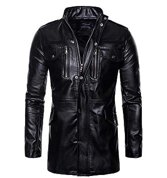 FAMLYJK Chaqueta De Cuero Negra Hombre - Cuello Alto De Cuatro Bolsillos para Hombres Sección Media Y Larga Chaqueta De Moto para Hombre Cuero: Amazon.es: ...