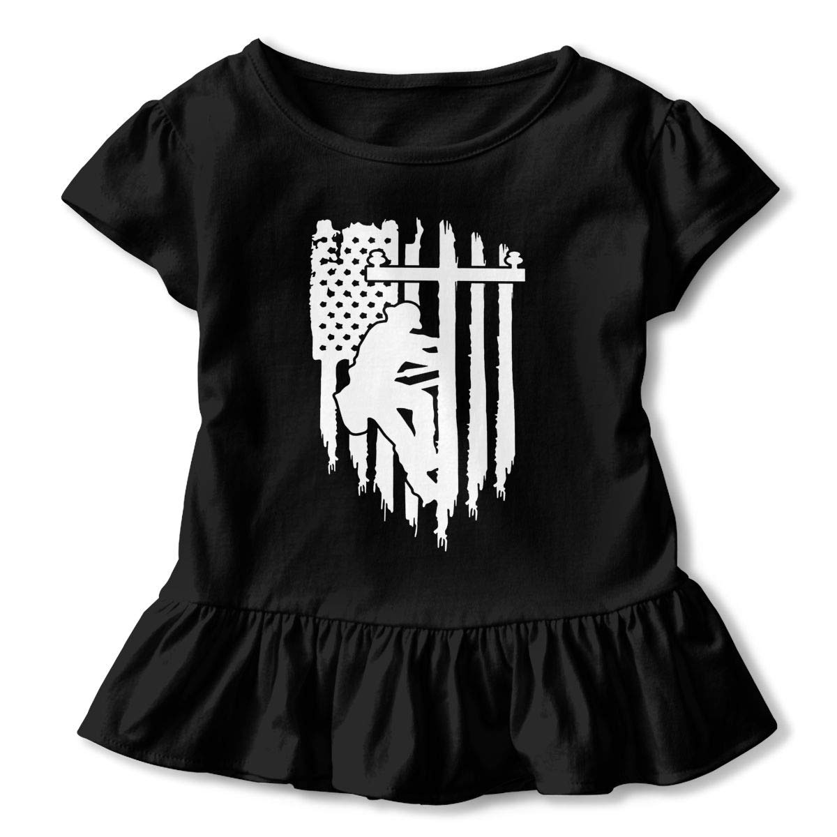 ZP-CCYF American Flag Electric Cable Lineman Toddler Baby Girl Ruffle Short Sleeve T-Shirt Comfortable Cotton T Shirts