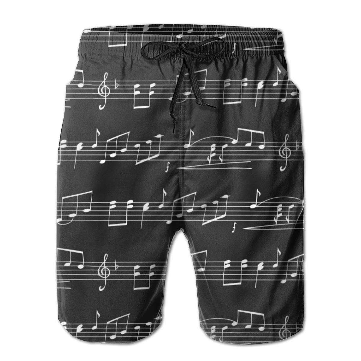 Musical Notes Summer Holiday Mesh Lining Swimwear Board Shorts with Pockets Hateone Mens Beach Shorts Quick Dry