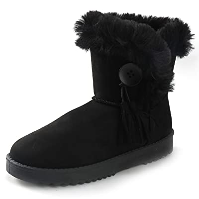 Alexis Leroy Women's Button Style Mid-Calf Warm Fur Lined Winter Flat Snow Boots | Snow Boots