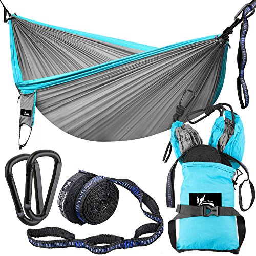 OUTDRSY Reinforced Camping Hammock Full Set 550lbs Capacity, 118