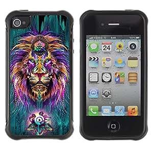 Suave TPU GEL Carcasa Funda Silicona Blando Estuche Caso de protección (para) Apple Iphone 4 / 4S / CECELL Phone case / / Hippie Third Eye Zen Alternative King /