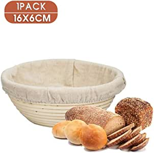 1x Round Bread Proofing Proving Basket Size 16x6cm Hold 250g Dough, Rattan Banneton Brotform,Sour Dough proofing, Artisan Bread, Natural Rattan Bowl with Linen Liner