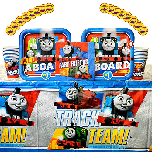 Thomas All Aboard Train Party Supplies Pack for 16 Guests | 16 Stickers, 16 Dinner Plates, 16 Luncheon Napkins, 16 Cups, and 1 Table Cover | Train Decorations For The Perfect Train Birthday Party]()