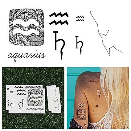 Tatuajes Temporales Tattify - Signo zodiacal - Acuario (juego de ...