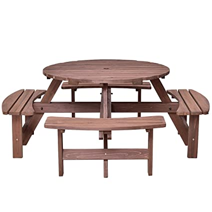 Awe Inspiring Asher Amada Patio 8 Seat Wood Picnic Table Beer Dining Seat Bench Set Pub Garden Yard Relax Seat Gamerscity Chair Design For Home Gamerscityorg