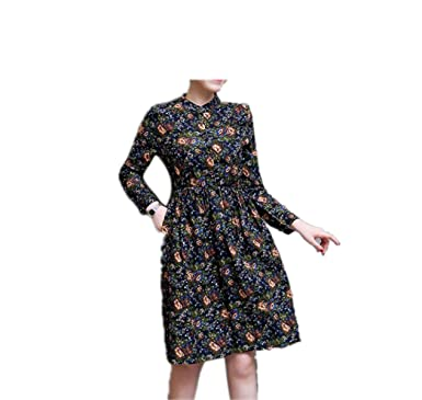 Paule Trevelyan NEW New Autumn Dress Cotton Linen Floral Women long Dress Vintage A-line