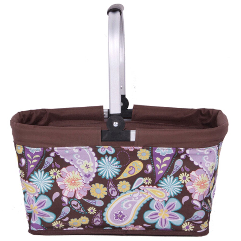 Brooke & Celine Shopping Baskets with Handles Collapsible Grocery Shopping Bag - Brown Flowers
