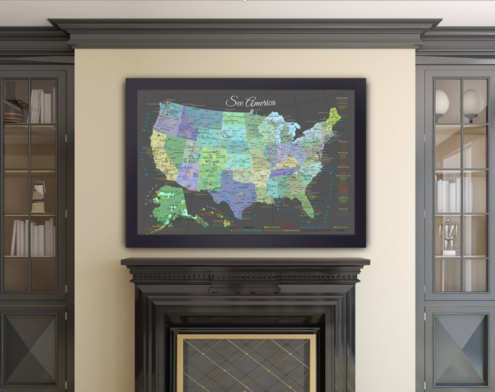 Amazoncom Explore America Map Small Framed Map Slate Edition - Framed us wall map