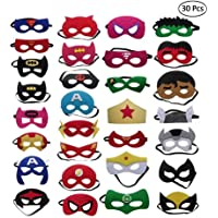 QTFHR Party Masks for Children 30 Piece Superhero Masks Perfect for Children Aged 3+
