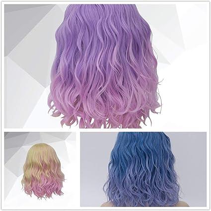 Lurrose - Peluca de pelo rizado de color degradado para ...