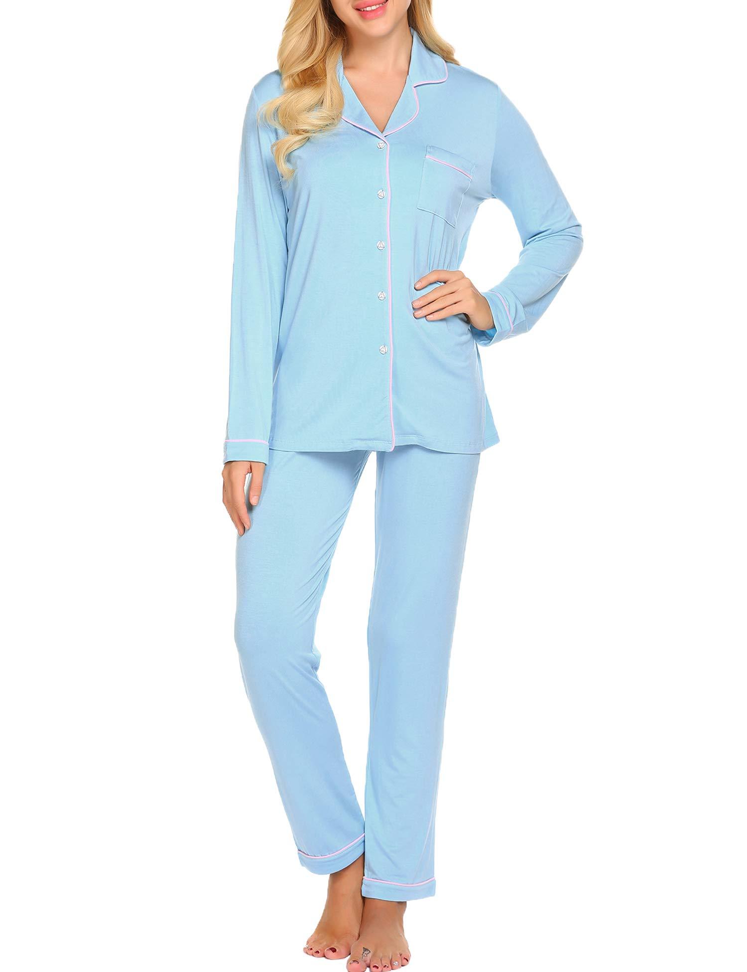 Ekouaer Pajama Set Womens Soft Sleepwear Long Sleeve Pjs Top Long Lounge Pants,Clear Blue,Small