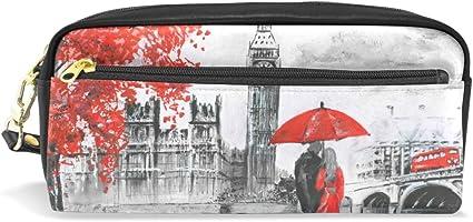 Eslifey - Bolsa portátil para pintar al óleo, vista callejera de Londres, piel sintética, estuche para bolígrafos, estuche para lápices y cosméticos, resistente al agua: Amazon.es: Oficina y papelería