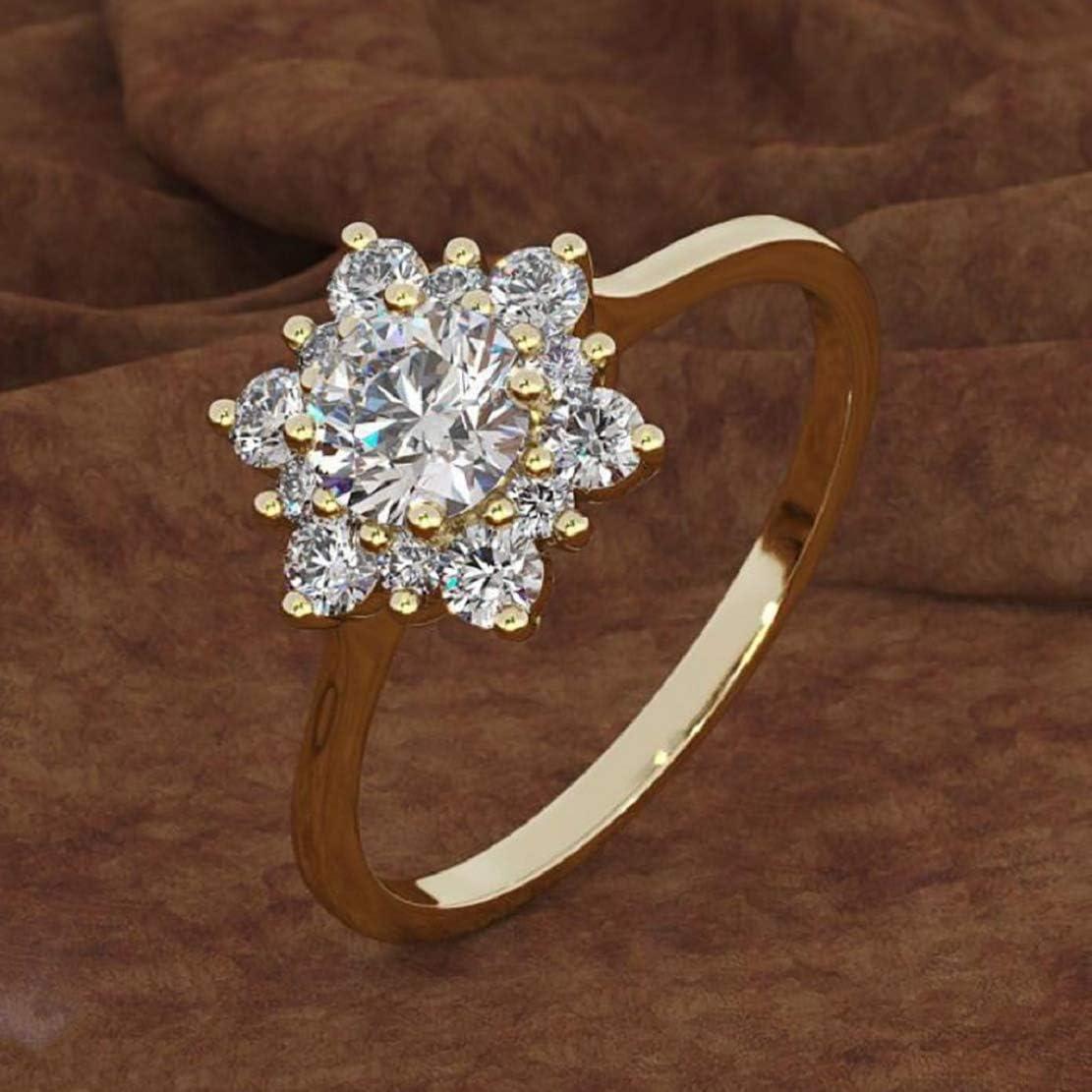 LowProfile Sliver /& Diamonds Jewellery White Plated Round Gemstone Split Shank Flower Design Snowflake Ring Sterling Silver