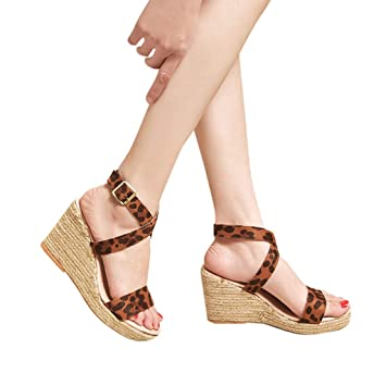 aaf0cbeb9a0b7a Seamount Womens Buckle Strap High Heels Peep Toe Wedge Outdoor Sandals-Flock  Leather Fashion Pumps