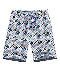 Holdwell Men's Printed Boardshorts Swimming Trunks / Pants With Front Drawstring Cyan S