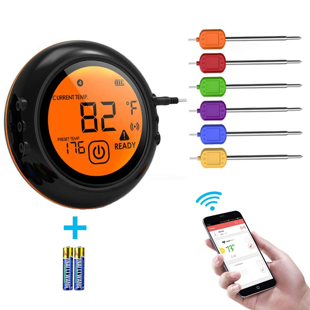 Smart Wireless Meat Thermometer for Grilling, Digital Display Thermometer for Cooking Food, Meat Thermometer for Smokers,Kitchen Grilling,Oven and Outdoor BBQ (black) by Trcode