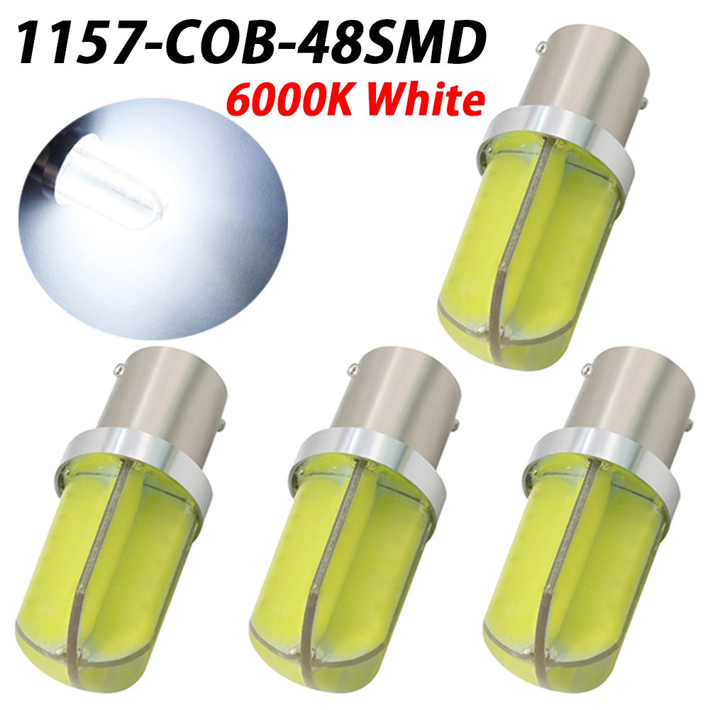 TABEN Extremely Bright 1700LM 9-30V Low Power Aluminum 1157 2057 2357 7528 BAY15D LED Bulbs COB Silica Gel 48SMD Back Up Reverse Lights, Brake Lights, Tail Lights, Rv lights, Xenon White (Pack of 2)