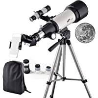 Telescope 70mm Apeture 400mm AZ Refractor Scope- Travel Scope for Kids and Beginners with Backpack, Tripod and Smartphone Adapter to View Moon and Planet