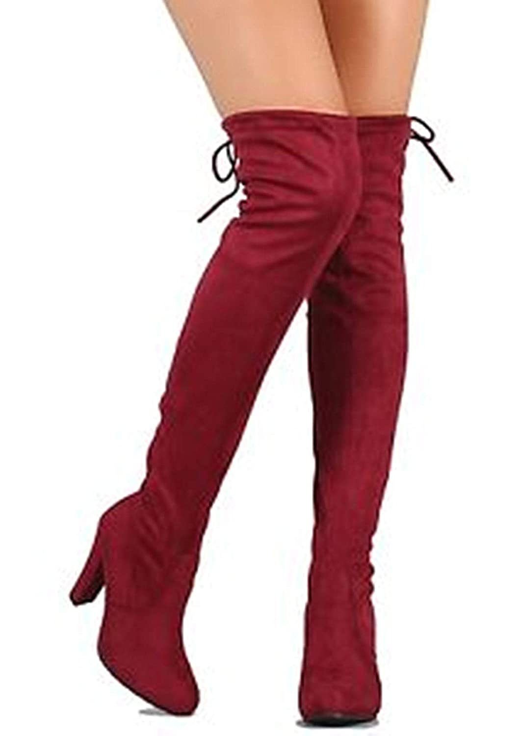Wine-h1 S&F SF Women's Over The Knee Boots Chunky Heels String Riding Women's shoes