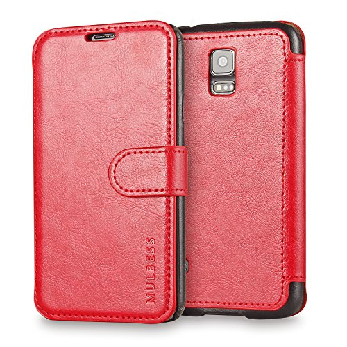 Galaxy S5 Case Wallet,Mulbess [Layered Dandy][Vintage Series][Wine Red] - [Ultra Slim][Wallet Case] - Leather Flip Cover with Credit Card Slot for Samsung Galaxy S5 SV i9600 (S5 Card Case Slot)