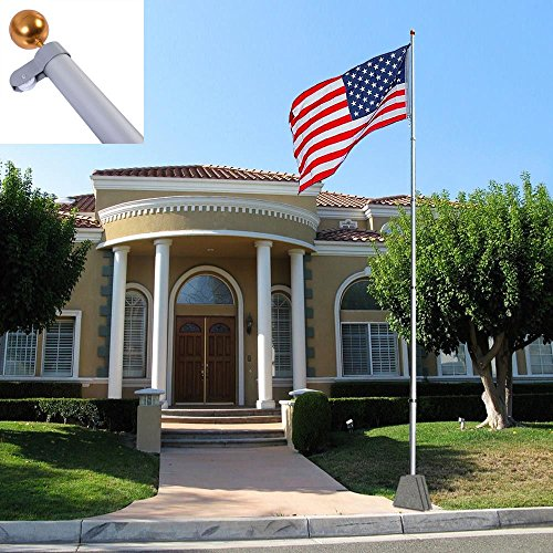 Lotus energy 25FT Extra Thick Aluminum Sectional American Flag Pole, Super Tough Heavy Duty US Outdoor Residential Flagpole Kit with Golden Ball Topper, ()