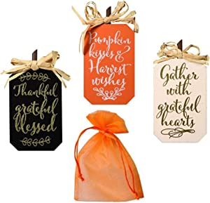 Fall Décor Bundle of Three for Home, Office, Business or Classroom – Includes Three Miniature Tabletop Fall/Autumn/Harvest Wooden Signs Each Sign Measures Around 4 x 5 inches (Black)