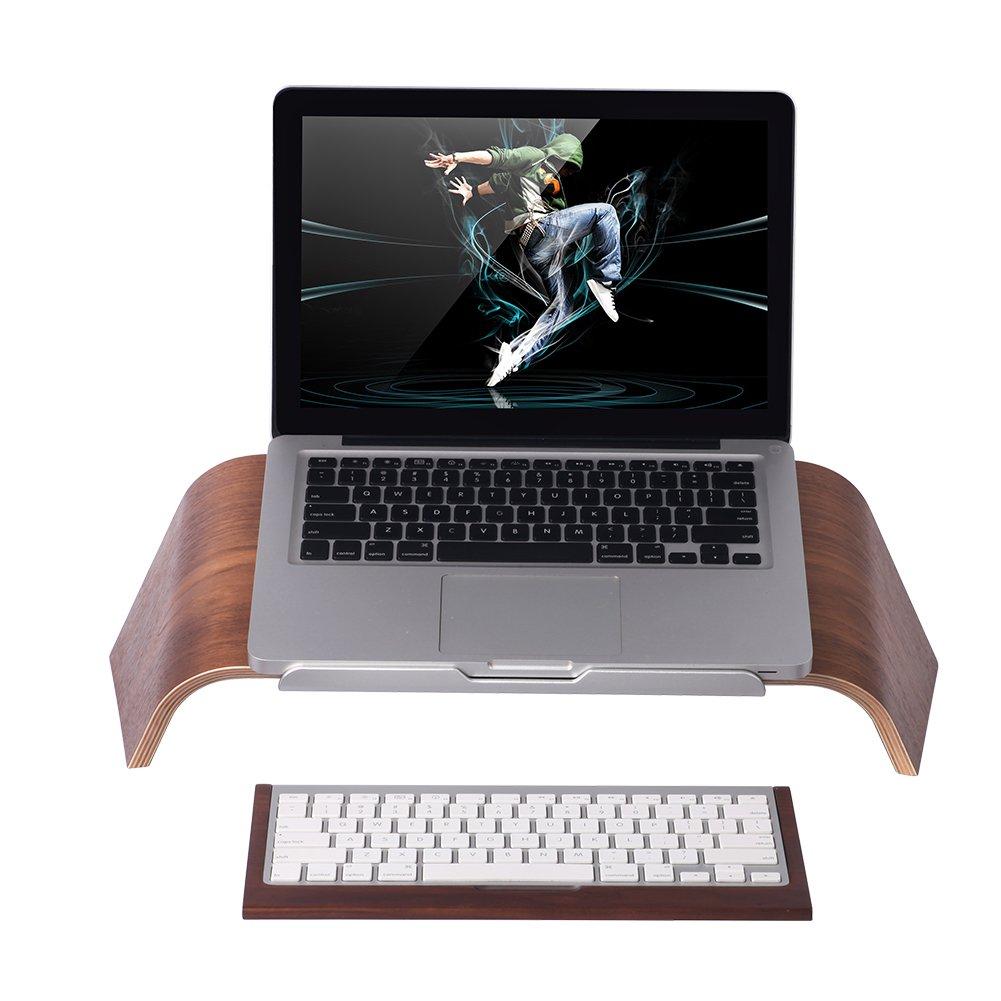 SAMDI Wood Laptop Stand, Gradient Oblique Holder Desktop Bracket Dock for Apple Air Pro, Notebook, Retina 11 12 13 15 and Other PC Notebook (Walnut) by SAMDI (Image #6)