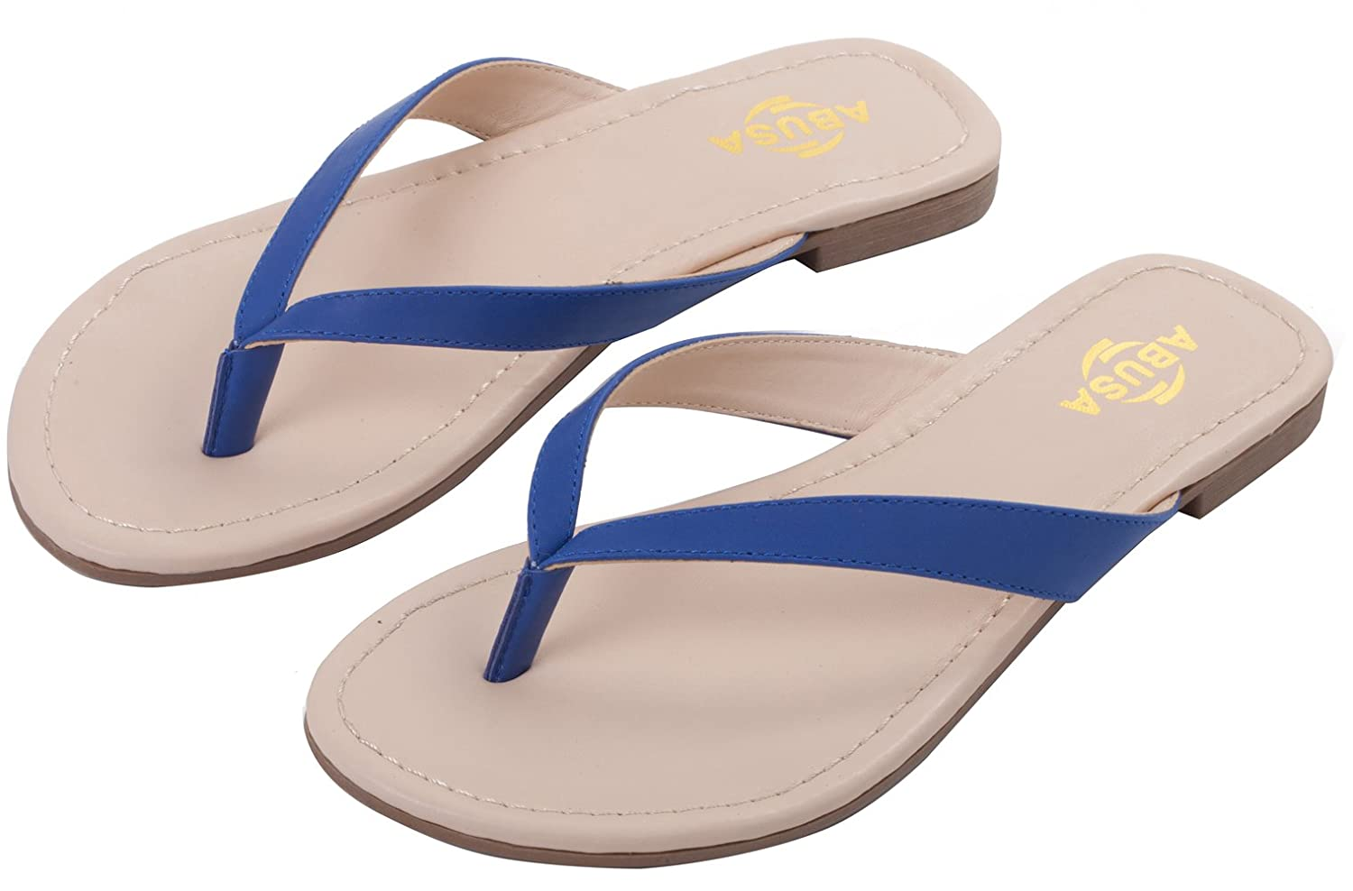 ABUSA Damen Simple Classic Leder Flip Flops: Amazon.de: Schuhe & Handtaschen