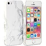 iPhone 5S Coque, GMYLE Cover Case Print Crystal pour iPhone 5 / iPhone 5S - Blanc Dessin de Marbre Slim Coque Housse Etui