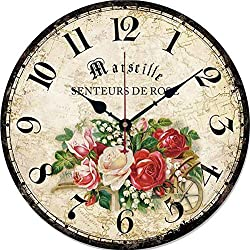 GFF 12 Inch Retro Wooden Wall Clock Farmhouse Decor, Silent Non Ticking Wall Clocks Large Decorative - Quality Quartz Battery Operated - Antique Vintage Rustic Colorful Tuscan Country Style