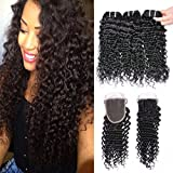 GEM Beauty Brazilian Virgin Hair Curly Wave Lace Closure With Bundles 100 Remy Curly Human Hair Extensions 3 Bundles With Closure 1B 14 with 16 18 20 inch