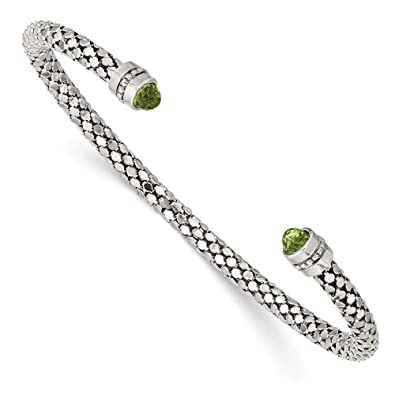 Amazon.com: Sterling Silver Peridot Textured Cuff Bracelet ...