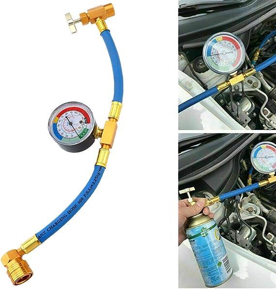 Rashion R134a Klimaanlage Kältemittel Aufladeschlauch Mit Messgerät Für Auto Nachfüll Messschlauch Auto