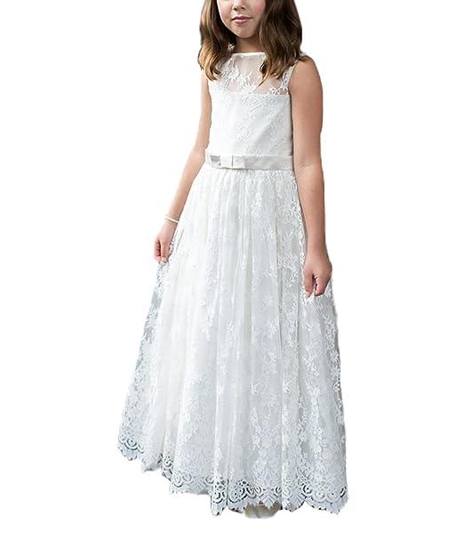 Amazon.com: abaosisters las niñas suave maxi vestido encaje ...