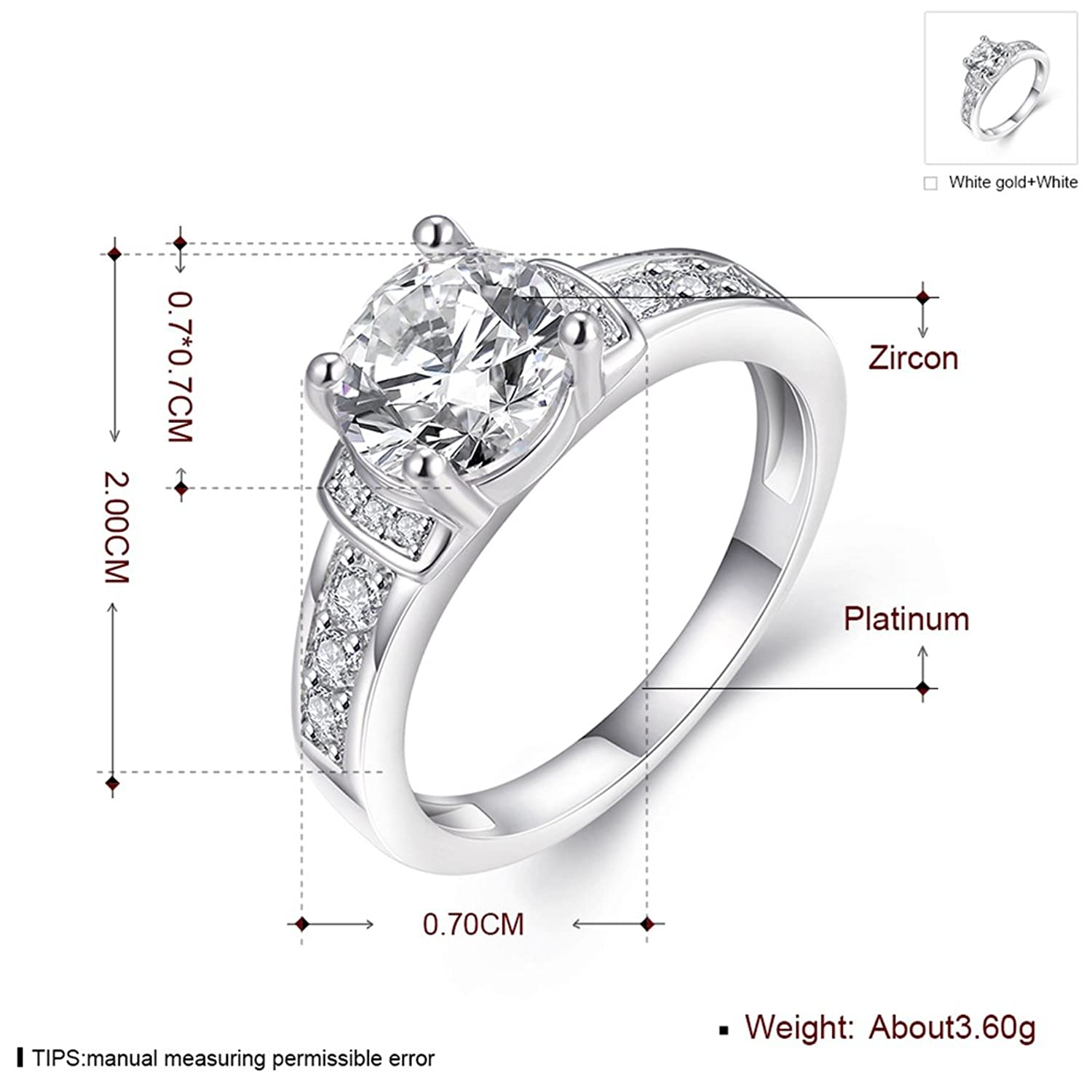 Amazon [Eternity Love] Women s Pretty 18K White Gold Plated