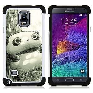 /Skull Market/ - Panda Cute Face For Samsung Galaxy Note 4 SM-N910 N910 - 3in1 h????brido prueba de choques de impacto resistente goma Combo pesada cubierta de la caja protec -