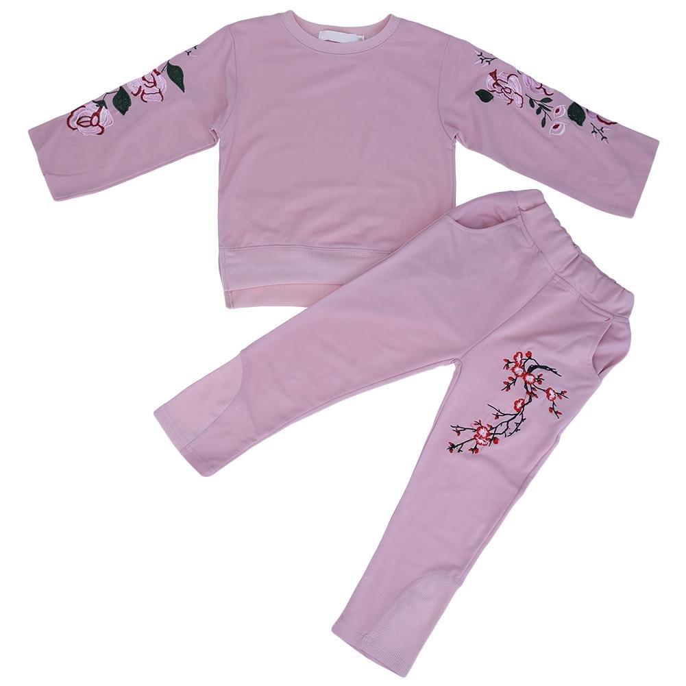 2pcs/lot Filles Enfants Flower-embroided décontracté Top + Pantalon Rose (110cm)