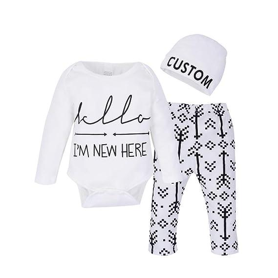 c5ac5a5104a5 Chinatera Baby Boy s Clothes Arrow Letter Print Romper Pants Hat ...