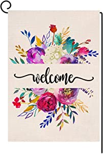 BLKWHT Spring Summer Floral Garden Flag Vertical Double Sided Welcome Flower Bouquets Burlap Yard Outdoor Decor 12.5 x 18 Inches A2164