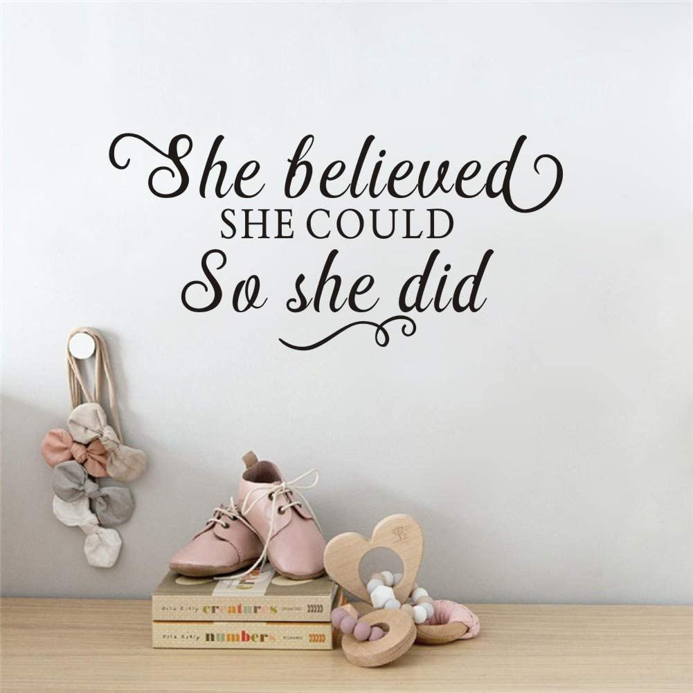 She Believe She Cloud So She Did Inspirational Quote Wall Decal , Motivational Saying Sticker for Girls Bedroom Decor, Large Positive Attitude Wall Art