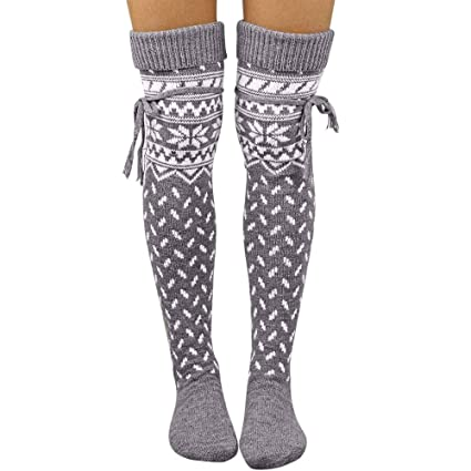 20dc5b26f Sinwo Girls Women Christmas Print Thigh High Over Knee High Socks Long Boot  Socks Cotton Stockings