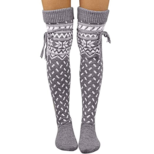 e4b9bad99c9 Christmas Socks FEDULK Snowflake Print Leg Warmers Knitted Thigh High Boots  Over the Knee Womens Socks (Gray