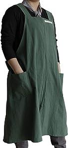 V VOCNI Women Cotton Linen Apron Unisex Baking Kitchen Restaurant Work Bib Pinafore Home, Restaurant, Cafe Aprons(Blue)