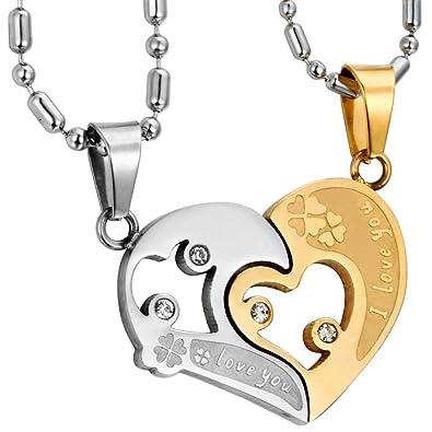 11ab11ea880 JewelryWe Bijoux Pendentif Collier Homme et Femme Appariement  quot I Love  You quot  Coeur Trèfle