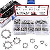 Hilitchi 300-Pcs [8-Size] 304 Stainless Steel External Tooth Star Lock Washers Assortment Set - Size Included: M2 M3 M4 M5 M6 M8 M10 M12