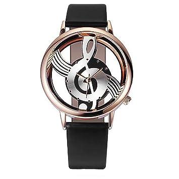 Malloom Reloj de Cuero con símbolo de música Personalizado (Marco de Oro Rosa) Reloj de Pulsera de Cuarzo analógico (Negro): Amazon.es: Deportes y aire ...